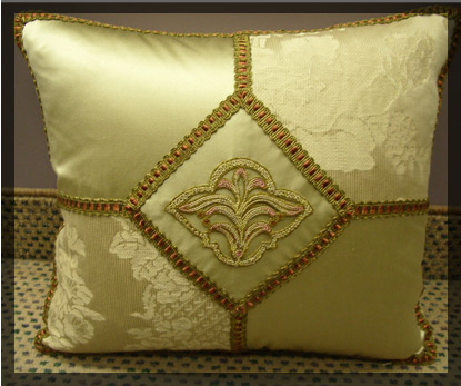 Custom cushion with 19th Century center applique