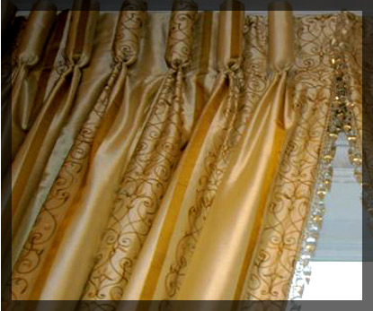 Custom silk drapes with crystal fringe